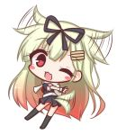 1girl ;d bangs black_legwear black_ribbon black_serafuku black_shirt black_skirt blonde_hair blush blush_stickers chibi commentary_request dog_tail dutch_angle ear_wiggle eyebrows_visible_through_hair fang full_body gradient_hair hair_between_eyes hair_ears hair_flaps hair_ornament hair_ribbon hairclip kantai_collection kneehighs komakoma_(magicaltale) long_hair looking_at_viewer looking_to_the_side multicolored_hair no_shoes one_eye_closed open_mouth pleated_skirt puffy_short_sleeves puffy_sleeves red_eyes red_hair red_neckwear remodel_(kantai_collection) ribbon scarf school_uniform serafuku shirt short_sleeves simple_background skirt smile solo tail tail_wagging very_long_hair white_background white_scarf yuudachi_(kantai_collection)