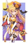 1girl animal_ears bats blonde_hair blush bow breasts bunny_ears cleavage cutout_cleavage cygames dragalia_lost elbow_gloves elisanne fake_bunny_ears garter_straps gloves halloween jack_o'_lantern leotard moon night night_sky nintendo orange_leotard pumpkin red_eyes sky thighhighs thighs white_elbow_gloves white_gloves white_thighhighs
