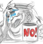 2018 alien beverage coffee coffee_mug digital_media_(artwork) facepalm facial_markings humanoid male markings mass_effect not_furry saphistar-tries-to-art solo tiran_kandros tired video_games