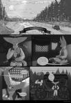black_and_white canid canine clothed clothing comic english_text fennec fox hi_res kzlion male mammal monochrome text vest wagon