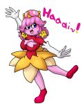 2018 alpha_channel armwear blue_eyes blush breasts cleavage cleavage_cutout clothed clothing crossgender crown digital_media_(artwork) dress elbow_gloves english_text female gloves hair humanoid kirby kirby_(series) looking_at_viewer nintendo not_furry open_mouth pink_hair pink_skin simple_background smile star super_crown text video_games yoshimister