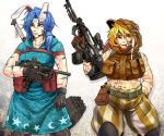 2girls abs adapted_costume animal_ears aqua_dress arm_at_side assault_rifle bare_arms bare_shoulders belt belt_pouch black_gloves blonde_hair blue_hair bodypaint brown_gloves bunny_ears camouflage clenched_hand closed_mouth commentary_request cowboy_shot dress ear_clip expressionless facepaint floppy_ears gloves gun hair_between_eyes hammer hand_print hand_up highres holding holding_gun holding_weapon hood hood_down hood_up hooded_dress hooded_vest knee_pads long_hair looking_afar looking_up low_ponytail medium_dress midriff mouth_hold multiple_girls navel pants pouch red_eyes rifle ringo_(touhou) ryuuichi_(f_dragon) seiran_(touhou) short_hair short_sleeves shoulder-to-shoulder side_ponytail skewer smile standing stomach submachine_gun toned touhou vest weapon weapon_on_back weapon_request