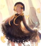 abigail_williams_(fate/grand_order) absurdres bangs black_bow black_dress black_hat blonde_hair bloomers bow bug butterfly closed_eyes closed_mouth commentary_request dress eisuto facing_away facing_viewer fate/grand_order fate_(series) forehead hair_bow hat head_tilt highres insect lavinia_whateley_(fate/grand_order) long_hair long_sleeves multiple_girls orange_bow parted_bangs polka_dot polka_dot_bow silver_hair sleeves_past_fingers sleeves_past_wrists standing underwear very_long_hair white_bloomers