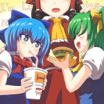3girls ascot bangs blue_bow blue_dress blue_eyes blue_hair blush bow bowtie brand_name_imitation breasts cirno closed_eyes commentary_request cowboy_shot cup daiyousei dress drinking drinking_straw english eyebrows_visible_through_hair eyes_closed facing_another food food_on_face frilled_ascot frills from_side hair_between_eyes hair_bow hair_tubes hakurei_reimu hamburger hand_on_another's_head hand_on_another's_shoulder hand_on_another's_head hand_on_another's_shoulder hands_up head_out_of_frame height_difference highres holding holding_cup holding_food large_breasts long_hair looking_at_another mcdonald's mcdonald's medium_breasts multiple_girls one_side_up open_mouth pinafore_dress profile puffy_short_sleeves puffy_sleeves red_bow red_neckwear red_skirt shirt short_hair short_sleeves sidelocks skirt skirt_set slogan tada_no_nasu touhou upper_body white_shirt wing_collar yellow_background yellow_bow yellow_neckwear