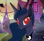 2018 bat_pony building cosmic_hair crown cutie_mark equine fangs feathered_wings feathers female feral friendship_is_magic hair halloween holidays horn house jewelry looking_at_viewer mammal my_little_pony necklace outside princess_luna_(mlp) red_eyes shutterflyeqd sky solo winged_unicorn wings winter