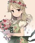 1girl ai_nige alternate_costume apron bangs bare_arms blush bouquet brown_eyes commentary_request cross-laced_clothes dirndl dress earrings eyebrows_visible_through_hair floral_print flower flower_earrings flower_wreath german_clothes green_dress hair_down head_wreath highres idolmaster idolmaster_cinderella_girls jewelry light_brown_hair light_smile long_hair looking_at_viewer morikubo_nono petals puffy_sleeves short_sleeves simple_background solo tearing_up traditional_clothes turtleneck upper_body white_background