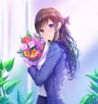 1girl bangs blue_bow blue_jacket blue_skirt blurry blurry_background blush bouquet bow breasts brown_hair closed_mouth commentary depth_of_field earrings english_commentary eyebrows_visible_through_hair flower hair_between_eyes head_tilt highres holding holding_bouquet jacket jewelry long_hair looking_at_viewer looking_to_the_side lunacle open_clothes open_jacket original pink_flower pink_rose pleated_skirt purple_eyes purple_flower red_flower red_rose rose shirt skirt small_breasts smile solo striped striped_bow very_long_hair white_shirt yellow_flower yellow_rose