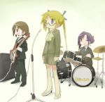 alternate_costume alternate_hairstyle amplifier bass_guitar black_ribbon blonde_hair blue_eyes blue_neckwear blush brown_eyes brown_hair closed_eyes closed_mouth collared_shirt copyright_name drum drum_set drumsticks eyebrows_visible_through_hair facing_viewer glasses goshiki_agiri hair_ribbon high_heels holding holding_drumsticks holding_instrument instrument kill_me_baby long_sleeves multiple_girls necktie okayparium open_mouth oribe_yasuna purple_hair ribbon shirt short_hair smile sonya_(kill_me_baby) standing twintails