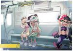 4girls aori_(splatoon) bandanna crown dark_skin drooling earrings fangs ground_vehicle hime_(splatoon) hood hood_up hoodie hotaru_(splatoon) iida_(splatoon) japanese_clothes jewelry kimono leaning_on_person mole mole_under_eye mole_under_mouth multiple_girls navel necklace nintendo open_mouth out_of_frame pantyhose pantyhose_under_shorts pointy_ears shazhiqiao shoes short_shorts shorts sitting sleeping sleeping_on_person sneakers splatoon splatoon_2 stomach stomach_tattoo tank_top tattoo tentacle_hair train train_interior