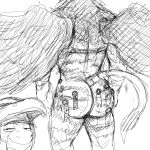 2018 armor avian big_butt butt donkey equine feathered_wings feathers fur gryphon hammer helmet hladilnik male mammal monochrome muscular presenting presenting_hindquarters purity_seal simple_background standing striped_fur stripes tools warhammer warhammer_fantasy white_background wings