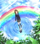 1girl blazer bow bowtie brown_eyes brown_hair cloud commentary converse from_above jacket kneehighs leaf looking_up original plaid plaid_skirt rainbow ripples school_uniform short_hair skirt sky smile solo somehira_katsu standing standing_on_liquid sunlight tree water