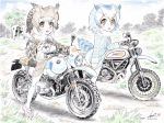 artist_name bangs bird_tail blue_sky bmw brown_coat brown_eyes brown_hair building check_commentary cloud cloudy_sky coat commentary commentary_request dated day dirt_road ducati eurasian_eagle_owl_(kemono_friends) fur_collar grass grey_coat ground_vehicle head_wings highres japari_symbol kemono_friends kubota_shinji light_frown long_sleeves looking_at_viewer mary_janes motor_vehicle motorcycle multiple_girls northern_white-faced_owl_(kemono_friends) open_mouth outdoors pantyhose pink_footwear red_eyes riding shoes short_hair signature sitting sky star_(sky) staring starry_sky tree vehicle_request watermark white_coat white_hair white_legwear