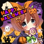1girl bangs bat bat_wings black_cape black_wings blue_eyes blush bow brown_hair bug candy cape commentary_request eyebrows_visible_through_hair food ghost gradient_sky green_bow hair_between_eyes hair_bow halloween head_tilt heart heart_in_eye highres holding holding_food holding_lollipop kuribayashi_kurumi lollipop looking_at_viewer nyano21 orange_bow orange_sky polka_dot polka_dot_bow princess_connect! princess_connect!_re:dive puffy_short_sleeves puffy_sleeves purple_sky shirt short_hair short_sleeves signature silk sky solo spider spider_web star swirl_lollipop symbol_in_eye upper_body white_shirt wings yellow_bow