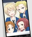 4girls assam bangs black_neckwear black_ribbon blonde_hair blue_eyes blue_sweater braid brown_eyes cellphone cellphone_camera character_name closed_mouth commentary darjeeling dated dress_shirt english eyes_closed facing_viewer girls_und_panzer group_picture hair_pulled_back hair_ribbon happy_birthday long_hair long_sleeves looking_at_viewer multiple_girls mutsu_(layergreen) necktie open_mouth orange_hair orange_pekoe parted_bangs phone phone_screen red_hair ribbon rosehip school_uniform shirt short_hair smartphone smile st._gloriana's_school_uniform sweater tied_hair twin_braids v v-neck white_shirt wing_collar