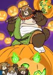 bandage belly big_belly canine child clothing costume food fruit fundoshi gyobu halloween hammer holidays japanese_clothing jewelry leaf legwear male mammal necklace nipples pumpkin robe scar slightly_chubby socks tanuki tattoo tokyo_afterschool_summoners tools underwear usikuma6 young