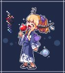 blush blush_stickers bow candy_apple closed_eyes commentary commentary_request food frame holding horn_ribbon horns ibuki_suika japanese_clothes kimono kumamoto_(bbtonhk2) long_sleeves lowres oni open_mouth orange_hair pixel_art purple_bow ribbon sandals short_hair sidelocks simple_background smile solo sparkle touhou water_balloon yukata