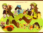 1boy 1girl backwards_hat baseball_cap berry bird black_hair boots brown_hair bucket copyright_name creature creatures_(company) dedenne eevee eyes_closed fangs game_freak gen_1_pokemon gen_3_pokemon gen_4_pokemon gen_6_pokemon hair_brush happy hat helioptile holding holding_brush holding_pokemon li_sakura licking litleo long_hair nintendo on_lap one_eye_closed overalls pokemon pokemon_(creature) pokemon_(game) pokemon_breeder_(pokemon) pokemon_on_lap pokemon_xy poochyena red_eyes riolu short_sleeves sitting smile