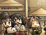 4girls :3 :d :o aoba_(kantai_collection) arm_warmers black_hair camera camouflage commentary_request evening eyes_closed hachimaki hamu_koutarou hat headband high_ponytail japanese_clothes kantai_collection light_brown_hair long_hair multiple_girls muneate ooshio_(kantai_collection) open_mouth pink_hair ponytail purple_eyes purple_hair red_eyes school_uniform scrunchie serafuku shimakaze_(kantai_collection) shimakaze_(seal) shirt short_hair short_sleeves short_twintails skirt smile solid_oval_eyes suspender_skirt suspenders sweat twintails white_shirt yahagi_(kantai_collection) zui_zui_dance zuihou_(kantai_collection)