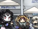 4girls abukuma_(kantai_collection) animal_costume aoba_(kantai_collection) bag bear_costume black_hair blue_eyes blush bridal_gauntlets camera commentary_request dress floating_fortress_(kantai_collection) grocery_bag hair_over_one_eye hamakaze_(kantai_collection) hamu_koutarou isolated_island_oni kantai_collection kinu_(kantai_collection) multiple_girls pink_hair red_eyes ribbon school_uniform shinkaisei-kan shopping_bag translation_request white_hair
