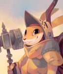 2018 anthro armello armor backpack barnaby_(armello) buckteeth clothed clothing digital_media_(artwork) digital_painting_(artwork) hammer helmet hi_res lagomorph looking_at_viewer male mammal rabbit salanchu simple_background smile solo teeth tools warhammer warm_colors weapon