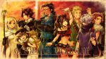 4boys 4girls alfyn_(octopath_traveler) apple backpack bag book copyright_name cyrus_(octopath_traveler) food forehead_scar fruit gloves h'aanit_(octopath_traveler) hat hat_feather jewelry midriff multiple_boys multiple_girls octopath_traveler olberic_eisenberg one_eye_closed ophilia_(octopath_traveler) poncho ponytail primrose_azelhart signature staff sunset sword therion_(octopath_traveler) tressa_(octopath_traveler) weapon