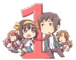 2boys 4girls asahina_mikuru brown_eyes brown_hair chibi commentary_request countdown eyebrows_visible_through_hair eyes_closed hair_ribbon koizumi_itsuki kyon multiple_boys multiple_girls nagato_yuki necktie open_mouth purple_eyes purple_hair ribbon school_uniform serafuku short_hair simple_background skirt smile suzumiya_haruhi suzumiya_haruhi_no_yuuutsu taiki_(6240taiki) watahashi_yasumi white_background