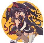 2girls animal_ears bare_shoulders black_hair blue_eyes boots cape cat_ears cat_tail choker commentary_request fang gloves halloween halloween_costume hat hinatsuru_ai leotard long_hair long_sleeves looking_at_viewer low_twintails multiple_girls neck_bell open_mouth orange_neckwear pantyhose ponytail red_eyes ryuuou_no_oshigoto! shirabi shirt shorts sleeveless tail thighhighs twintails vest white_legwear white_shirt witch_hat yashajin_ai