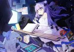 1girl 999kun azur_lane bangs blue_eyes can cd cd_case clock commentary controller digital_clock dress elbow_gloves evening_gown eyebrows_visible_through_hair game_console game_controller glasses gloves hair_between_eyes hair_ribbon highres long_hair one_side_up playstation_4 purple_hair ribbon sitting soda_can solo speaker stuffed_animal stuffed_toy stuffed_unicorn television tongue tongue_out unicorn_(azur_lane) wariza white_dress white_gloves