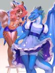 2018 5_fingers anthro antlers blue_eyes blue_scales breasts clothed clothing crossdressing digital_media_(artwork) dragon duo female girly horn levelviolet male mammal membranous_wings scales simple_background smile wings