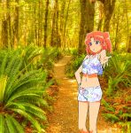 bare_shoulders bikini bikini_shorts forest hand_on_hip horizon legs mikakunin_de_shinkoukei navel outstretched_hand short_shorts shorts star star_print swimsuits two_side_up wood yonomori_kobeni