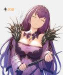 bangs bare_shoulders breasts cleavage closed_eyes closed_mouth commentary_request detached_collar dress fate/grand_order fate_(series) fur_trim hair_between_eyes jewelry large_breasts long_hair necklace pendant purple_dress purple_hair pyz_(cath_x_tech) scathach_(fate)_(all) scathach_skadi_(fate/grand_order) simple_background solo squirting tiara wand water white_background