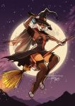 anthro blue_eyes breasts broom broom_riding cleavage clothed clothing digital_media_(artwork) dress feline female furlana garter_straps halloween hat hi_res holidays legwear lynx magic_user mammal moon night outside red_panda shawl sky smile solo star starry_sky stockings thigh_highs witch witch_hat