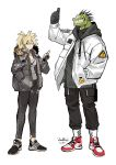 ! anthro blonde_hair clothed clothing duo female footwear fully_clothed green_scales grin hair human jacket kuroblood lizard male mammal reptile scales scalie sharp_teeth shoes simple_background size_difference smile spikes teeth thumbs_up white_background yellow_eyes