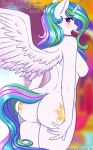 2018 absurd_res blush breasts butt digital_media_(artwork) english_text equine eyelashes feathered_wings feathers female food friendship_is_magic hair hi_res horn looking_at_viewer mammal multicolored_hair my_little_pony nipples nude princess_celestia_(mlp) pussy solo text twistedscarlett60 winged_unicorn wings