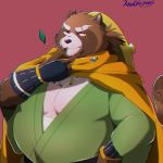 2018 anthro belly canine clothing gyobu humanoid_hands knkieyas leaf male mammal overweight overweight_male red_background robe scar simple_background solo tanuki tattoo tokyo_afterschool_summoners