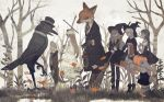 4girls animal ankle_boots autumn autumn_leaves bare_tree bird black_dress blindfold blonde_hair book boots bow bowtie broom brown_hair bunny clothed_animal coat crow dress forest formal fox from_side furry grass halloween hat holding holding_book holding_broom holding_cross lantern lizard long_hair long_sleeves looking_at_another multiple_girls muted_color nature neck_ribbon original outdoors pantyhose profile pumpkin ribbon rt0no sepia short_sleeves standing striped striped_legwear tree white_dress witch_hat