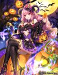 ass dress fishnets gyakushuu_no_fantasica halloween heels horns katagiri_hachigou no_bra nopan pointy_ears tail thighhighs
