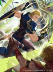 1boy armor arrow belt blonde_hair blue_eyes copyright_name faceless faceless_male fire_emblem fire_emblem:_monshou_no_nazo fire_emblem_cipher gloves leaf male_focus mayo_(becky2006) nintendo official_art oguma scar shield sword tree weapon