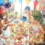 2boys 4girls alolan_form alolan_raichu baseball_cap beanie black_hair black_shirt blonde_hair blue_eyes blue_hair brown_eyes camera chair closed_mouth commentary_request cosmog creatures_(company) cup dark_skin dark_skinned_male eating flower food food_on_face from_side game_freak gen_1_pokemon gen_2_pokemon gen_3_pokemon gen_5_pokemon gen_7_pokemon gladio_(pokemon) glass_door green_eyes green_hair hair_flower hair_ornament hairband hat hau_(pokemon) kettle lillie_(pokemon) litten long_hair malasada mao_(pokemon) mizuki_(pokemon) multiple_boys multiple_girls nintendo overalls plate pokemon pokemon_(creature) pokemon_(game) pokemon_sm ponytail popplio pyukumuku red_hat rowlet sentret shirt short_hair short_sleeves sitting sleeveless sleeveless_shirt smile spoink spoon standing steenee suiren_(pokemon) swimsuit swimsuit_under_clothes swinub table taking_picture teacup tepig trial_captain twintails white_shirt you_(pokemon) zuizi