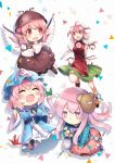4girls ahoge bandage bandaged_arm bandages bangs bear_mask bird_wings blue_hat blue_kimono blue_shirt blush bow bowtie brown_dress brown_hat bun_cover candy chibi commentary_request crayon double_bun dress expressionless flower flying food green_skirt hat hata_no_kokoro ibaraki_kasen japanese_clothes kapuchii kimono long_hair long_sleeves mask miniskirt mob_cap multiple_girls mystia_lorelei obi open_mouth origami paper_crane pink_eyes pink_flower pink_hair pink_neckwear pink_rose pink_skirt plaid plaid_shirt puffy_long_sleeves puffy_short_sleeves puffy_sleeves red_eyes red_footwear red_ribbon ribbon ribbon-trimmed_skirt ribbon_trim rose running saigyouji_yuyuko sash shirt shoes short_sleeves simple_background skirt smile sweat sweatdrop tabard touhou triangular_headpiece white_background white_shirt wide_sleeves wings