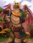 anthro belly_scales belt claws dragon frill gamutfeathers gem hammer horn looking_at_viewer male nestor_(spyro) scales scalie solo spyro_reignited_trilogy spyro_the_dragon tools video_games wings