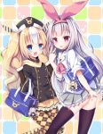 2girls :d :p alternate_costume argyle argyle_legwear ass azur_lane bag bag_charm black_jacket blonde_hair blue_eyes blush brown_legwear brown_mittens character_doll charm_(object) closed_mouth collared_shirt commentary_request diagonal_stripes fur-trimmed_mittens grey_skirt hair_ribbon hat heart highres hobby_(azur_lane) jacket kalk_(azur_lane) karaage3 long_hair long_sleeves looking_at_viewer mittens multicolored_hair multiple_girls open_mouth pantyhose pink_ribbon pleated_skirt purple_eyes ribbon school_bag school_uniform shirt silver_hair skirt smile streaked_hair striped striped_ribbon thighhighs tongue tongue_out v very_long_hair waving white_hair white_ribbon white_shirt yellow_skirt