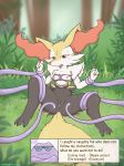 ambiguous_gender anthro bdsm black_fur bondage bound braixen breasts comic crocodiler_owen detailed_background female female/ambiguous fur nintendo orange_fur pokémon pokémon_(species) pussy pussy_juice red_eyes restrained tentacles video_games white_fur yellow_fur