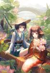 1boy 1girl absurdres alternate_form animal_ears bangs blunt_bangs blush boat bob_cut bridge brown_hair bug chinese_clothes closed_mouth commentary day dragonfly fish flower frilled_kimono frills green_eyes hair_flower hair_ornament hairband hat head_fins highres horizon insect insect_on_finger japanese_clothes kappa_(onmyoji) kimono koi_(onmyoji) leaf lily_pad long_sleeves looking_at_viewer lotus lotus_pod maccha_(mochancc) mermaid monster_girl obi onmyoji orange_hair outdoors parted_lips partially_submerged pink_flower purple_hair rainbow river rope sash short_hair short_hair_with_long_locks sidelocks sitting smile straw_hat sun_hat tassel tasuki water watercraft wide_sleeves yellow_eyes