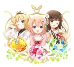 ;) anko_(gochiusa) blazer blonde_hair blue_eyes blush bouquet brown_hair clenched_hand closed_mouth collarbone eyebrows_visible_through_hair flower gochuumon_wa_usagi_desu_ka? green_eyes hair_between_eyes hair_flower hair_ornament hairclip head_tilt hoto_cocoa hoto_cocoa's_school_uniform jacket kirima_sharo koi_(koisan) long_sleeves looking_at_viewer multiple_girls necktie official_art one_eye_closed plaid_neckwear purple_eyes school_uniform serafuku smile sweater tedeza_rize's_school_uniform tippy_(gochiusa) ujimatsu_chiya upper_body white_background wild_geese