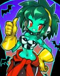 1girl absurdres alternate_hair_color alternate_hairstyle bare_arms bare_shoulders blue_skin blush breasts cleavage clothes_around_waist dakusuta earrings gloves green_hair hairband halloween hand_on_hip highres jewelry midriff navel red_eyes rottytops shantae_(series) short_hair sidelocks skull_earrings smile solo thumbs_up tsurime yellow_gloves