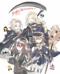 aubz blonde_hair braid brown_hair dress elbow_gloves formal gloves h'aanit_(octopath_traveler) hair_bobbles hair_ornament halloween hat holding holding_scythe holding_weapon jewelry long_hair looking_at_viewer multiple_girls necklace octopath_traveler open_mouth ophilia_(octopath_traveler) ponytail primrose_azelhart red_eyes scythe short_hair skull smile suit tressa_(octopath_traveler) vampire weapon witch