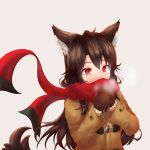1girl alternate_costume animal_ears beige_background blush breath brown_hair commentary_request contemporary covered_mouth enpera highres imaizumi_kagerou jacket long_hair long_sleeves mittens red_eyes red_scarf scarf simple_background tail touhou upper_body wolf_ears wolf_tail yuuyake