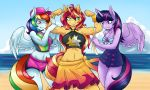 2018 absurd_res ambris anthro anthrofied beach blue_eyes blue_feathers breasts cleavage clothed clothing cloud equestria_girls equine feathered_wings feathers female flexing friendship_is_magic group hair hat hi_res horn long_hair mammal midriff multicolored_hair multicolored_tail muscular muscular_female my_little_pony outside pegasus pink_eyes purple_eyes purple_feathers rainbow_dash_(mlp) rainbow_hair rainbow_tail seaside sky smile sunset_shimmer_(eg) tape_measure twilight_sparkle_(mlp) two_tone_hair unicorn winged_unicorn wings