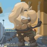 2018 anthro big_breasts bikini boots breast_squish breasts bxulnooxgard canine clothed clothing cosplay eyes_closed fangs female footwear fur gloves gun hair huge_breasts huge_thighs hyper hyper_breasts konami leggings legwear mammal metal_gear nipple_bulge outside ponytail pouch quiet_(metal_gear) ranged_weapon rifle rubber_glove sea short_stack sniper_rifle sonic_(series) swimsuit thick_thighs torn_clothing tube video_games water weapon whisper_the_wolf wide_hips wolf yellow_fur